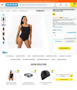 Capture d'écran d'un exemple de push produit en fiche produit sur le site d'articles de sport Décathlon