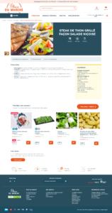 Capture d'écran d'un exemple de push produit en fiche produit sur le site de vente de produits alimentaires Place du Marché